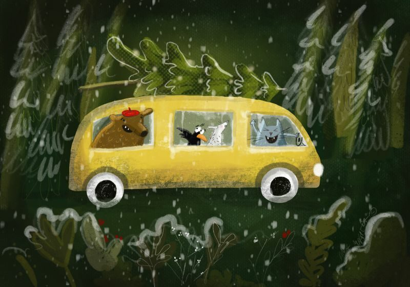 CHRISTMAS BUS illustration